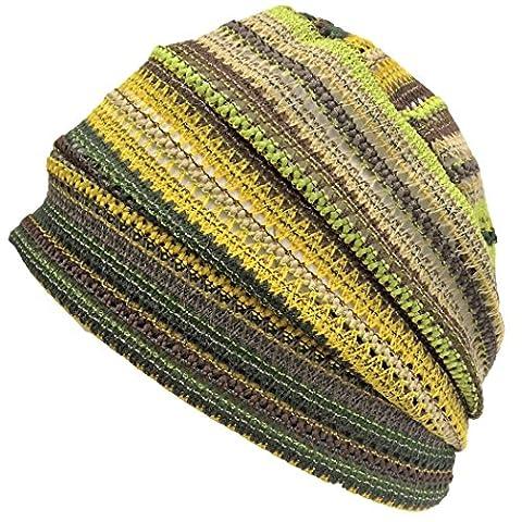 Casualbox Crochet Beanie Hat Summer Mesh Tie Dye Fashion Skull Cap Unisex Cool Yellow