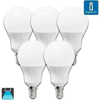 Aigostar - Bombilla LED E14, 9W equivalente a 70W, 720lumen Luz blanca fría 6400K Ángulo 280°,no regulable - 5 unidades [Clase de eficiencia energética A+]