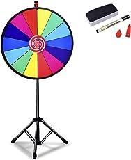 """COSTWAY 24"""" Glücksrad Spielzeug Farbe Rad Spiele für Lotteriespiele, Wortspiele φ60cm"""
