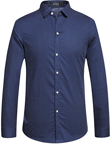 SSLR Camisa Formal Hombre Manga Larga Camisa a Lunares Entallada Ajustada Moda (X-Large, Azul)