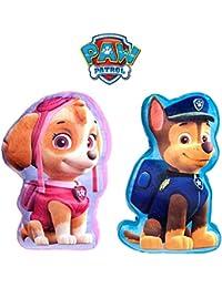 Set of 2 x Soft Paw Patrol Character Cushions - Skye & Chase (each 35cm x 22cm x 5cm)