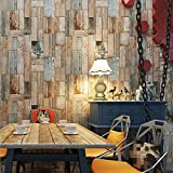 Starsglowing Retro Wall Mural Wood Look PVC Photo Wallpaper para sala