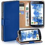 moex Samsung Galaxy S4 | Hülle Blau mit Karten-Fach 360° Book Klapp-Hülle Handytasche Kunst-Leder Handyhülle für Samsung Galaxy S4 / S IV Case Flip Cover Schutzhülle Tasche