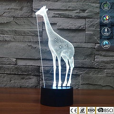 Illusion 3D Lampe Veilleuse Girafe 7couleurs à langer Touch USB Table joli cadeau Jouets Décorations