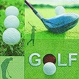 20serviettes de 33x 33cm, 3plis, 1/4plié Golf Clubs de Golf sur 16,5x 16,5cm...
