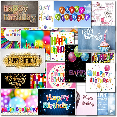 Pack Of 20 Mixed Happy Birthday Premium Greeting Cards Doodlecards