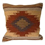 Fair Trade Kelim Kissenbezüge, handgefertigt auf Handwebstühlen mit 80/20 - Wolle / Baumwolle und natürlichen Farben, Almora (45cm x 45 cm)