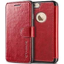 VRS - Funda de piel con tapa para iPhone 6/6S Plus, color rojo vino, con 3 ranuras para tarjetas, para Apple iPhone 6 Plus (2014)/6S Plus (2015)