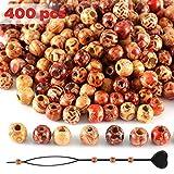 SOSMAR 400 Stück Holzperlen + Perlen Einfädler, Runde Holzkugeln 10mm mit großem Loch 4mm für Haar Bart Dreads Auffädeln Basteln Armbänder etc. - Bunt / 9 * 10mm