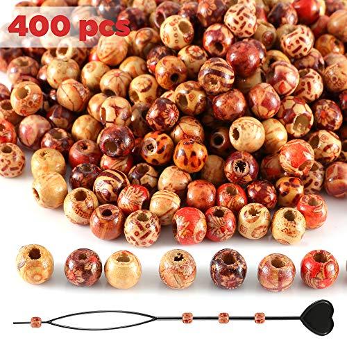 400Pcs x 10mm Holzperlen mit Perlen Einfädler, Gemischte Muster & Großes Loch 4mm Perlen Kugeln für basteln auffädeln DIY und Haar Bart Dreadlocks Schmuck etc. von SOSMAR