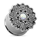 Piercingfaktor Ohr Plug Flesh Tunnel Piercing Schmuck Lotus Blume Opal Edelstahl Silber IP 6mm
