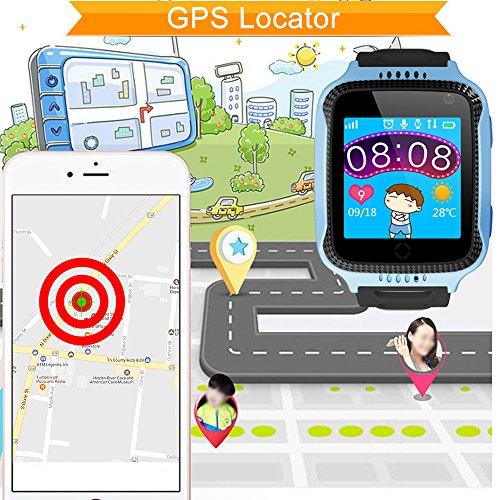 TURNMEON 1.44 inch Touch Kids GPS Tracker Smart Watch with Camera SIM Calls Anti-lost SOS Wrist Watch Smart Bracelet for Children Girls Boys Finder Safety Monitor Flashlight (Mix Blue)
