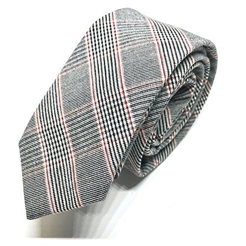 GOOD.designs Cravatta per uomo realizzata a mano con filato di cotone, uomo-cravatta (Vestito Blu Camicia A Righe)