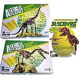 Dino-3er Set Brachiosaurus Skelett Bausatz 23 Teile Animal Planet + Velociraptor Skelett Bausatz 24 Teile von Animal Planet + GK008 Tyrannosaurus Rex +
