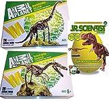 EDU Toys Dino-3er Set Brachiosaurus Skelett Bausatz 23 Teile Animal Planet + Velociraptor Skelett Bausatz 24 Teile von Animal Planet + GK008 Tyrannosaurus Rex +