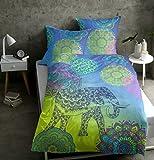 sister s. Renforcé-Bettwäsche Noida absolut hip Mandalas Ornamente Glücks-Elefant orientalische Farbenpracht blau-Kiwi-grün 135x200 cm