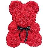 Soulitem Ours en Peluche Rose,40 cm de Mousse Rose de Coeur d'amour de Fleur de Simulation d'ours de Rose pour la Noce, décor