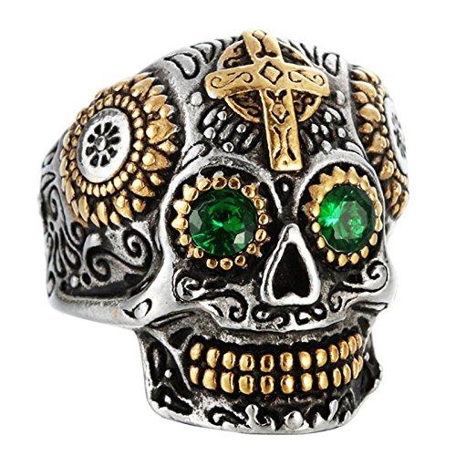 Bishilin Gothic Titan Ring Männer mit Grün Zirkonia Kreuz Schädel Totenkopf Punk Herrenring Freundschaftsringe Gold Größe 67 (21.3) - Schädel-ringe-titan