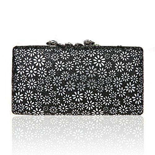KAXIDY Damen Handtasche Clutch Glänzende Pfau-Kristall Buckle Damentasche Tasche Abend Handtasche Abendtasche (Blau) Schwarz
