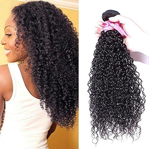 Meydlee AccessoriPosticci Estensioni di capelli umani ricci crespi brasiliano di colore naturale 3 fasci 300 grammi , 14 16 18