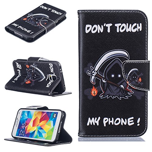 Qiaogle Téléphone Coque - PU Cuir rabat Wallet Housse Case pour Apple iPhone 7 (4.7 Pouce) - BF55 / Three Days in New York City BF53 / Don't touch my phone (crâne)