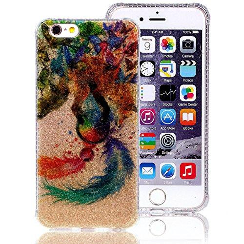 iPhone 7 Hülle (4,7 Zoll), Sunroyal® Weiche TPU Rahmen mit PC Rückdeckel Schutzhülle Bumper Case Hülle ,Ultra Slim Semitransparent Hybrid Bling Glitter Gel Silikon Zurück Buntes Muster Kratzfest Anti- Traumfänger
