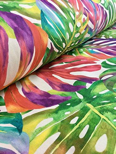 Tropical Palm Blätter Stoff Vorhang Polster Baumwolle Jungle Palm Leaf/140cm (Meterware) grün rot pink - Baumwolle Blatt