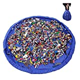 2 en 1 Sacs à Jouets pour Enfants Bébé 150cm Sac de Rangement Tapis de Jeu Pliable Organisateur de Lego Blocs de Construction Portable 150cm Pour Maison/Outdoor/Voyage (150cm-Blue)