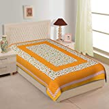 Indram 100% Cotton Rajasthani Jaipuri Traditional Floral Single Bed Sheet With One Pillow Cover (Yellow)