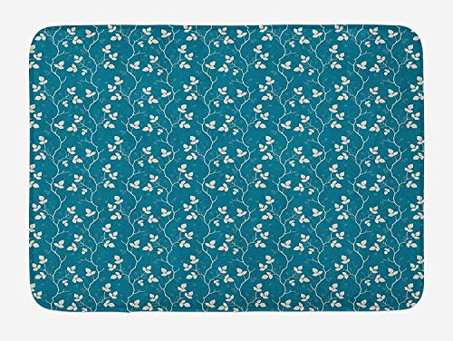 VTXWL Blue and Ivory Bath Mat, Romantic Foliage Pattern with Leafy Tree Branches Nature Inspired, Plush Bathroom Decor Mat with Non Slip Backing, 23.6 W X 15.7 W Inches, Petrol Blue and Ivory (Lime Cupcake Liner Green)