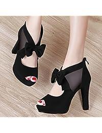 AJUNR-Zapatos De Mujer De Moda La Nueva Pista Irregular Zapatos Sandalias Boca De Pescado Zapatos Zapatos High-Heeled Femenina Como La Versión Coreana De La Marea Salvaje 40 Negro