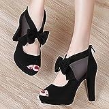 AJUNR-Damen Neue Mode Schuhe Die neue Grobe Track Schuhe Sandalen Fisch Mund High-Heeled Schuhe Frauen Schuhe wie die koreanische Version des wilden Flut Schwarzen 40
