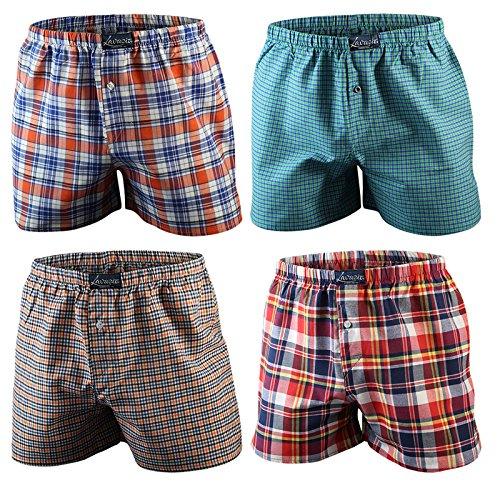 4er | 8er | 12er Pack Karo Herren Boxershorts Baumwolle gewebt, 2 Farbvarianten Qualität von Lavazio® 4er Pack - Farbe 4