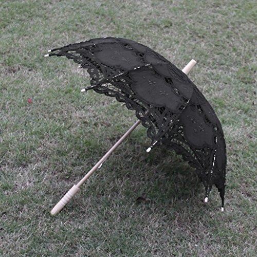 Sharplace Hochzeit Parasol Sonnenschirm Spitzenschirm Brautschirm - Schwarz, One Size