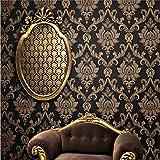 KeTian Vliestapete, Damast im europäischen Stil, Schwarz-goldene Farbe mit Gold-Streu-Effekt für Wohnzimmer, Schlafzimmer, TV-Hintergrund-Tapete 0,53m  x 10m = 5,3m2