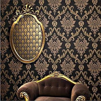 KeTian Vliestapete, Damast im europäischen Stil, Schwarz-goldene Farbe mit  Gold-Streu-Effekt für Wohnzimmer, Schlafzimmer, TV-Hintergrund-Tapete 0,53  ...