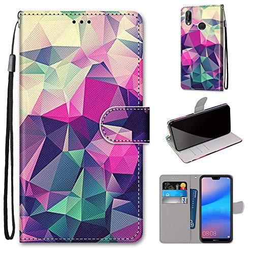 Miagon Flip PU Leder Schutzhülle für Huawei P20 Lite,Bunt Muster Hülle Brieftasche Case Cover Ständer mit Kartenfächer Trageschlaufe,Quadrat