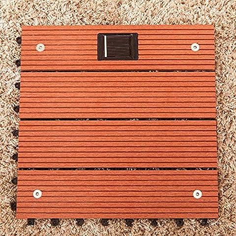 Bluelover Wood Flooring Composite Plastique Avec Solaire Lumière Jardin Balcon Imbriquées Decking Carreaux Pour L'Extérieur-Rouge Clair