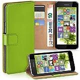 moex Nokia Lumia 530 | Hülle Grün mit Karten-Fach 360° Book Klapp-Hülle Handytasche Kunst-Leder Handyhülle für Nokia Lumia 530 Dual SIM Case Flip Cover Schutzhülle Tasche