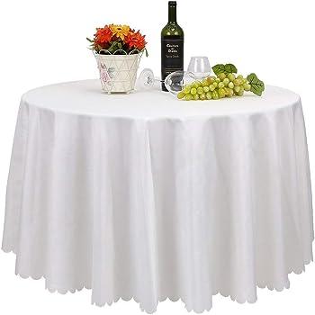 0a7493ae9beac2 FEMOR Lot de 10 Nappe Blanche Nappe de Table Nappe Ronde pour Maison  Restaurant Mariage Cérémonie