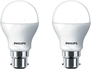 Philips Base B22 9-Watt Round LED Bulb (Pack of 2, Cool Day Light)