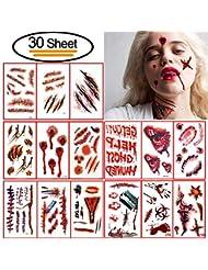30 pcs Halloween tatouages temporaires, Vibury Halloween Zombie cicatrices Tatouages Autocollants, maquillage pour accessoires de fête d'Halloween et autocollant cosplay