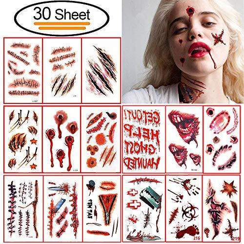 30Pcs Halloween Zombie Tatuajes Temporales, Vibury cicatrices tatuajes pegatinas etiqueta impermeable temporal de horror extraíble