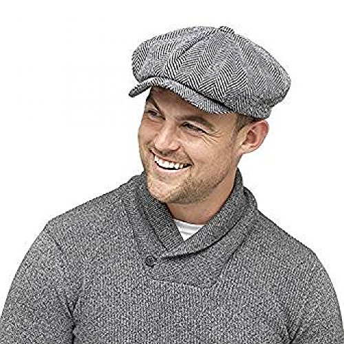 Mens Winter Baker Boy Flat cap with Thinsulate thermal lining Herringbone  grey (M L) f400a5b617ff