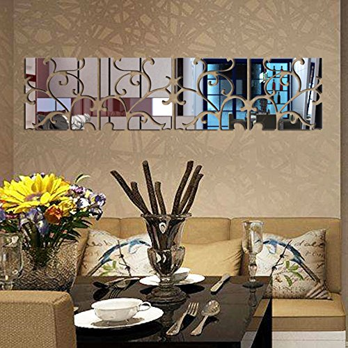 Price comparison product image Altsommer Self Adhesive Wall Paste,  16pcs DIY 3D Acrylic Mirror Decal Mural Sticker TV Background Kitchen Bedrooom Bathroom Decor (Silver)