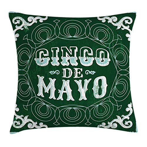 WYICPLO Cinco De Mayo Throw Pillow Cushion Cover, Ornamented Background Mexican Traditional Holiday Design, Decorative Square Accent Pillow Case, 18 X 18 inches, Forest Green Baby Blue White