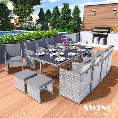 Swing & Harmonie Polyrattan Sitzgruppe Esstisch Lounge Sitzgarnitur Essgruppe Gartenmöbel Set (13-Teilig, Grau) - Esstisch Set Hoher