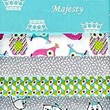 Textiles français Stoffpak bundle de telas - 5 telas: turquesa con gris, rosa, blanco y anís - colección de telas 'Majesty' | 100% algodón | 50 cm x 40 cm