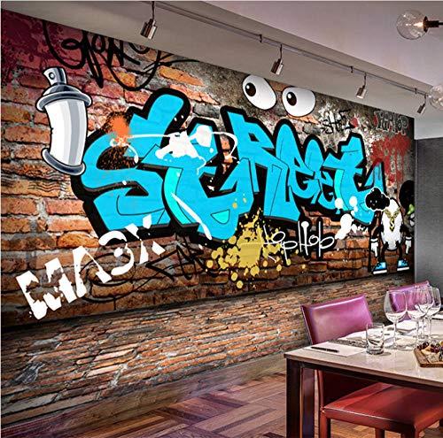 3D Stereo Street Graffiti Ziegel Tapete Kinder Cartoon Kinder Schlafzimmer KTV Bar Restaurant Cafe Hintergrund Wandbild Wohnkultur-350 cm x 255 cm - Tapete, Disney Mädchen, Kinder,