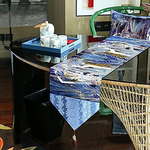 National de style de chemin de table de velours–Memorecool Superbe Franges Decor toutes saisons sans la lumière 33x 180,3cm 1pièce, bleu 1, 13x95inch